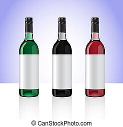 tre, flaskor, av, vit, röd, och, ro, whine, isolerat, vita, bakgrund., del, 2.
