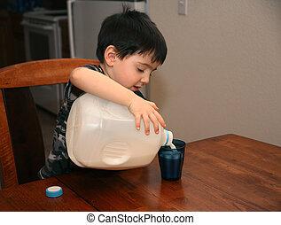 tre, gammalt år, flytande mjölka