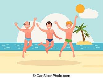 tre, giovani uomini, saltare, spiaggia, fondo.