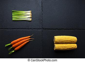 tre, grönsaken, på, skiffer, bas
