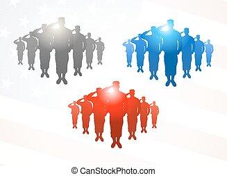 tre, grupper, i, saluting, soldater, ind, gråne, blå røde, farver, på, amerikaner flag, baggrund