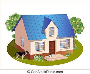 tre, hus, dimensioner, model, familie