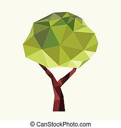 tre, ikon, -, grön, logo