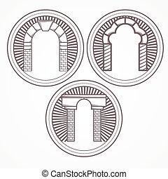 tre, illustration, vektor, tegelsten, välva, slagen, ikon