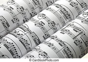 tre, isolato, musica, fogli, bianco, fila