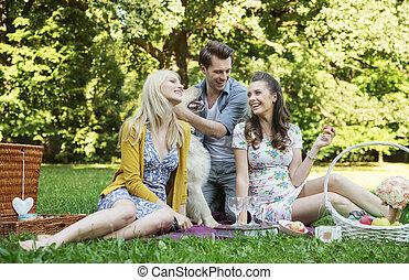 tre kamrater, under, den, picknicken