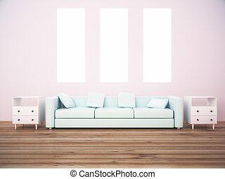 tre, kanfas, och, soffa