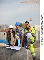 tre, konstruktion arbetare, delning, deras, idéer