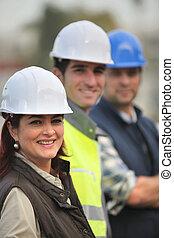 tre, konstruktion, kolleger, on-site