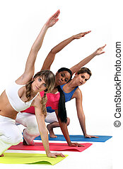 tre, kvinde, ind, gymnastiksal klasse