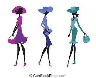 tre kvinnor, in, hattar