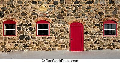 tre, ladugård, dörr, sten, fönstren, gammal, röd, lysande
