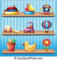 tre, legno, mensole, con, differente, giocattoli