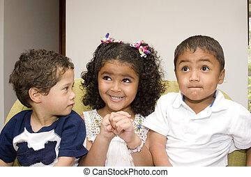tre, lycklig, barn spela