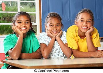 tre, lycklig, ung, utbilda flickor