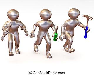 tre, mand, hos, tools., opretholdelsen