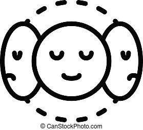tre, maschere, contorno, stile, icona, personalità