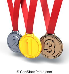 tre, medaglie