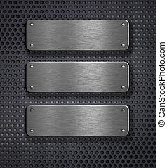 tre, metallo, piastre, sopra, sfondo griglia
