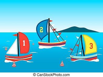 tre, navigare barche, corsa, su, il, acqua