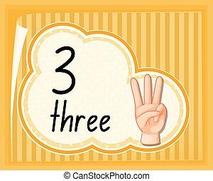 tre, numero, gesto, mano