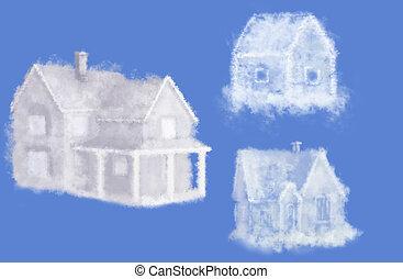 tre, nuvola, sogno, case, collage