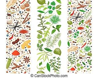 tre, organizzato, culinario, erbe, nastri, spezie