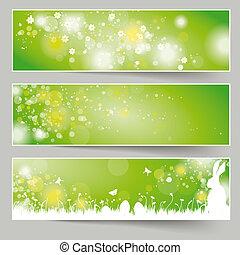 tre, påske, banner, grøn baggrund, piad