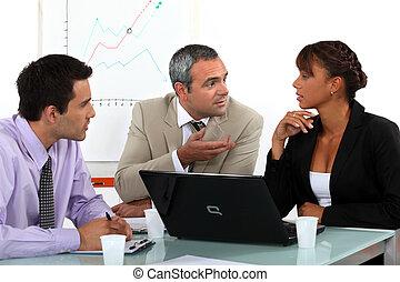 tre persone, in, animato, riunione affari