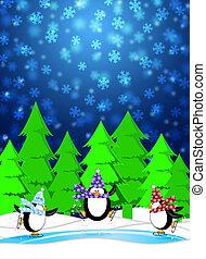 tre, pinguini, pattinaggio, in, pista di pattinaggio, nevicare, scena inverno, illustrazione, sfondo blu