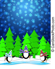 tre, pingviner, skridskoåkning, in, skridskobana, snöa, vinter scen, illustration, blåttbakgrund