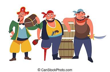tre, pirati, armato, banda, standing, ladri, barbuto, mare