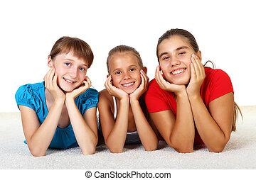 tre, ragazze adolescenti, insieme
