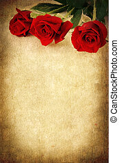 tre, rose rosse, sopra, grunge, fondo