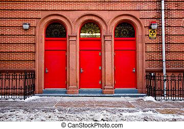 tre, rosso, porte