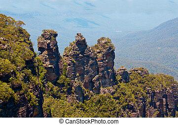 tre søstre, blå bjerg, australien