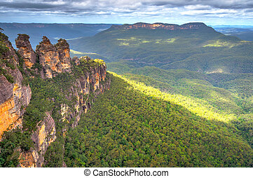 tre søstre, ind, blå bjerg, australien
