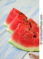 tre, saftig, delar, av, vatten melon