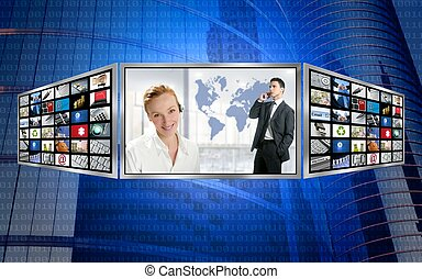 tre, schermo, monitor, affari, mondo, tecnologia
