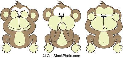 tre, scimmie, detto
