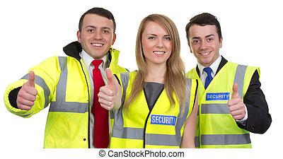 tre, security bevogter, hos, tommelfingre oppe, tegn, isoleret, på hvide
