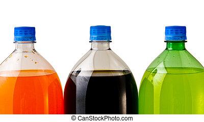 tre, soda, flaskor