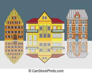 tre, splendido, città, case, isolato
