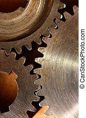 tre, stål, cogwheels, ind, sammenhænge