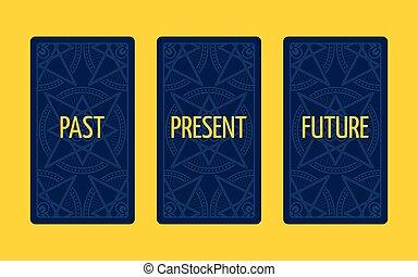 tre, tarocco, futuro, scheda, spread., presente, passato