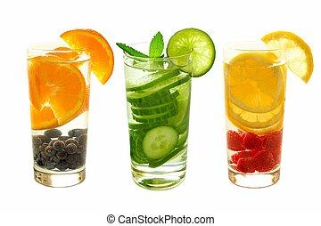 tre, tipi, di, detox, acqua, con, frutta