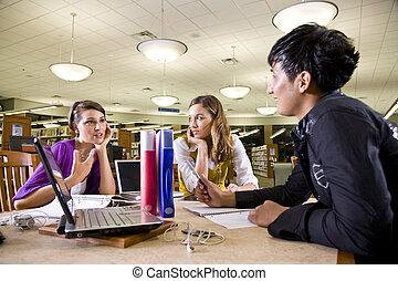 tre, universitet, studerende, indstudering, sammen