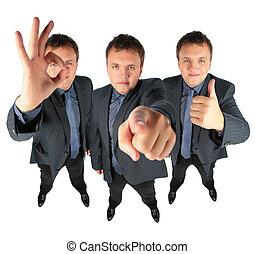 tre, uomini affari, due, con, ok, gesto, e, uno, esposizione, a, lei, collage