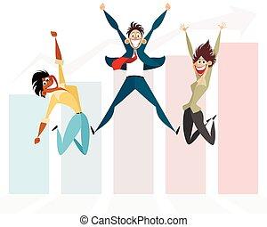 tre, uomini affari, saltare