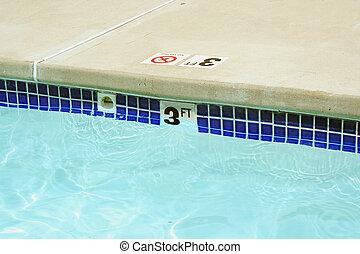 tre, vatten, fot, markör, slå samman, simning